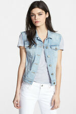Paige Women's Kirby Frayed Vest Premium Demin Size L $189 LD61