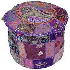 """Ethnic Round Pouf Cover Patchwork Embroidered Fabric Pouffe Ottoman Bohemian 22"""""""