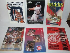 Vintage 1980s and !990s Detroit Sports Pocket Schedules Tigers Pistons Red Wings
