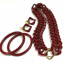 Vtg TRIFARI Dark Red Lucite Chain Links Necklace Bracelet Clip Earring Set FF258