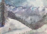 Aquarell Winterlandschaft mit Skifahrer Nordisch Langlauf Wald Schnee 39,5x29,5