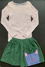 Girls 9-10 MINI BODEN Pink Stripe Pointelle Top & Kitty Cat Corduroy Skirt~FALL~