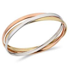 14k Tre Colori Oro Incrociati Donna Bracciale Rigido, 19.1cm