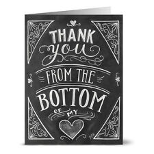 24 Chalkboard Thank You Note Cards - From the Bottom of My Heart - Kraft Envs