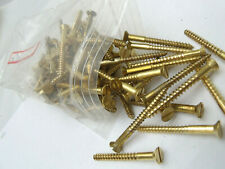 #8 Slotted Drive Flat Head Countersink Solid Brass Wood Screws 100 PIECES