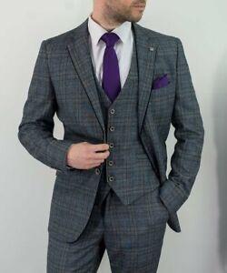 Mens Cavani Grey Blue Tweed Check Porto Wedding Lined Formal 3 Piece Suit