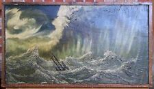 "Mid Century ""Turbulent Seas"" Oil on Burlap Signed"