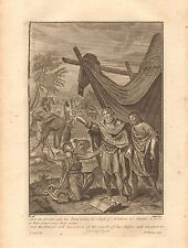 1770  ANTIQUE PRINT -BIBLE- AND THE SERVANT PUT HIS HAND UNDER THE THIGH OF ABRA