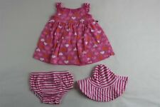 GERBER Girls Sleeveless Dress With Diaper Cover And Hat Set Pink Hearts Newborn