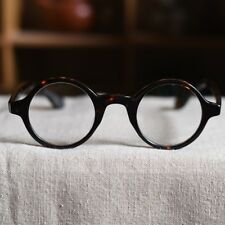 46mm Vintage round Johnny Depp eyeglasses loop frame tortoise mens RX eyewear