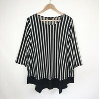 Adrianna Papell Women's Black White Striped 3/4 Sleeve Knit Combo Blouse Size 1X