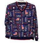 Tail Vtg V-neck Patriotic USA MCMXCIX 1999 Pullover Golf Shirt Men's Size XL