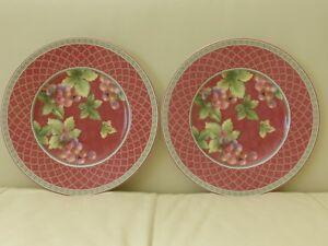 FITZ & FLOYD SONOMA COLLAGE SET OF 2 SALAD PLATES