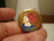"""Antique BRASS and ENAMEL """"OUTSTANDING"""" KING man LAST ONE button"""