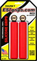 ESI Chunky Mountain Silicone Handlebar Grips 130mm RED Mtb Mtn Bike