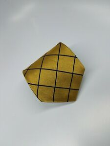 Brooks Brothers Mens Silk Necktie Gold Blue Waffle Lines Geometric (2155)