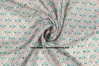 By Yard Women Dressmaking Cotton Voile Fabric Indian Hand Block Print Sewing