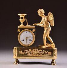 Impressive rare bronze Empire fire gilt Cupid Mantel Clock, France, circa 1810