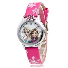 Watch Princess Elsa Anna Watches Fashion Girl Kids Student Cute Leather Sports