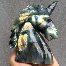 1pcs Natural labradorite unicor skull quartz crystal Manual carving