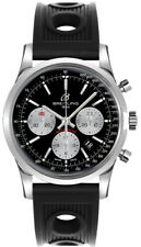 Brand New Breitling Transocean AB015212/BF26-200S Black Dial Steel Men's Watch