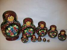 VINTAGE 10 PIECE HAND PAINTED RUSSIAN NESTING DOLLS, 1996