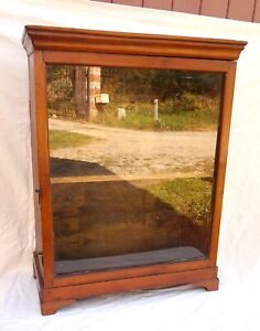 French Wall Hanging Table Display Cabinet Showcase Cherry Wood 19th C