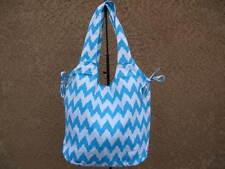 Sky Blue & White Chevron  Canvas Shopper Beach Gym Tote Bag  Grocery Large Purse