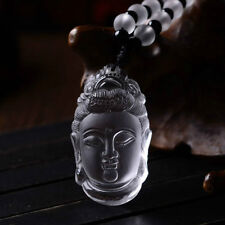 Chinese Delicate White Crystal Buddha Necklace Pendant Lucky Citrine Amulet Hot