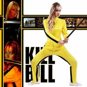 Kill Bill Yellow Costume Women Lady Uma Thurman Halloween Bruce Lee Fancy Outfit