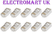 10 X RJ45 CAT6 NETWORK ETHERNET CONNECTOR MODULAR FULLY SHIELDED PLUGS