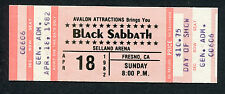1982 Black Sabbath Outlaws Unused Concert Ticket Selland Arena Fresno Mob Rules