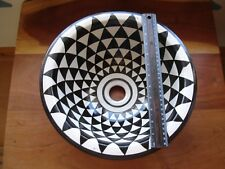 Moroccan small black + white triangl hand painted ceramic round sink wash basin