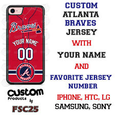 Atlanta Braves Personalize Red Baseball Jersey Phone Case Cover for iPhone etc