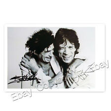 Mick Jagger and Ronnie Wood - Rolling Stones - Autogrammfotokarte laminiert