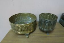 Set of 2 Vintage Art Nouveau Brass Planter Vase Plant Pot England Claw Foot