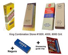 King Combination Sharpening Stone #1000, 4000, 8000 Grit Whetstone+ Nagura+Clip
