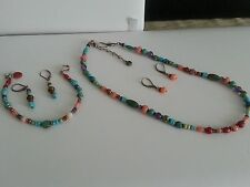 Hand Crafted Semi-Precious Multi-Color Stones Necklace Bracelet 2pr of Earrings
