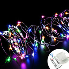 10M 100 LED Lichterkette Beleuchtung Batterie Dekodraht Fernbedienung IP65 Bunt