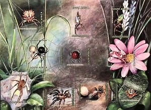SOUTH AFRICA WONDER WORLD OF SPIDERS STAMPS SHEET 2004 MNH INSECT BUGS ARACHNID