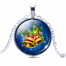 Vintage Style Blue Jingle Bells Christmas Collection Party Pendant Necklace N443