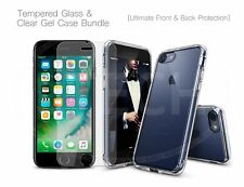 For Apple iPhone 4 / 4S Tempered Glass Screen Protector& Silicone Clear Gel Case