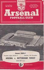 ARSENAL v NOTTINGHAM FOREST ~ 15 NOVEMBER 1958 ~ FOOTBALL PROGRAMME