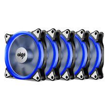 5PCS Aigo  Blue Halo LED 120mm PC Computer Case Cooling Quite Clear Fan Mod