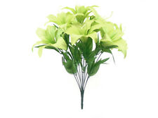 "GREEN Tiger Lily Bush Satin 11 Artificial Silk Flowers 19"" Bouquet 8225GN"