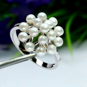 NATURAL WHITE PEARL RING 925 STERLING SILVER WHITE GOLD PLATED SZ 7.75