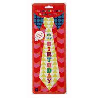Happy Birthday Novelty Fun Party Sticker Stick On Tie Fancy Dress Prop Unisex