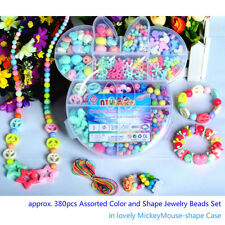 380pcs Mix Color&Shape Jewelry Beads Set For Kids Crafts DIY in Mickey-shape box