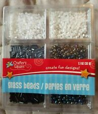 Glass Beads Variety small black & white set by Crafters Square. New in package