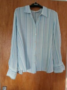 pre owned  pure cotton cheesecloth summer blouse/shirt blue aqua stripe size 24
